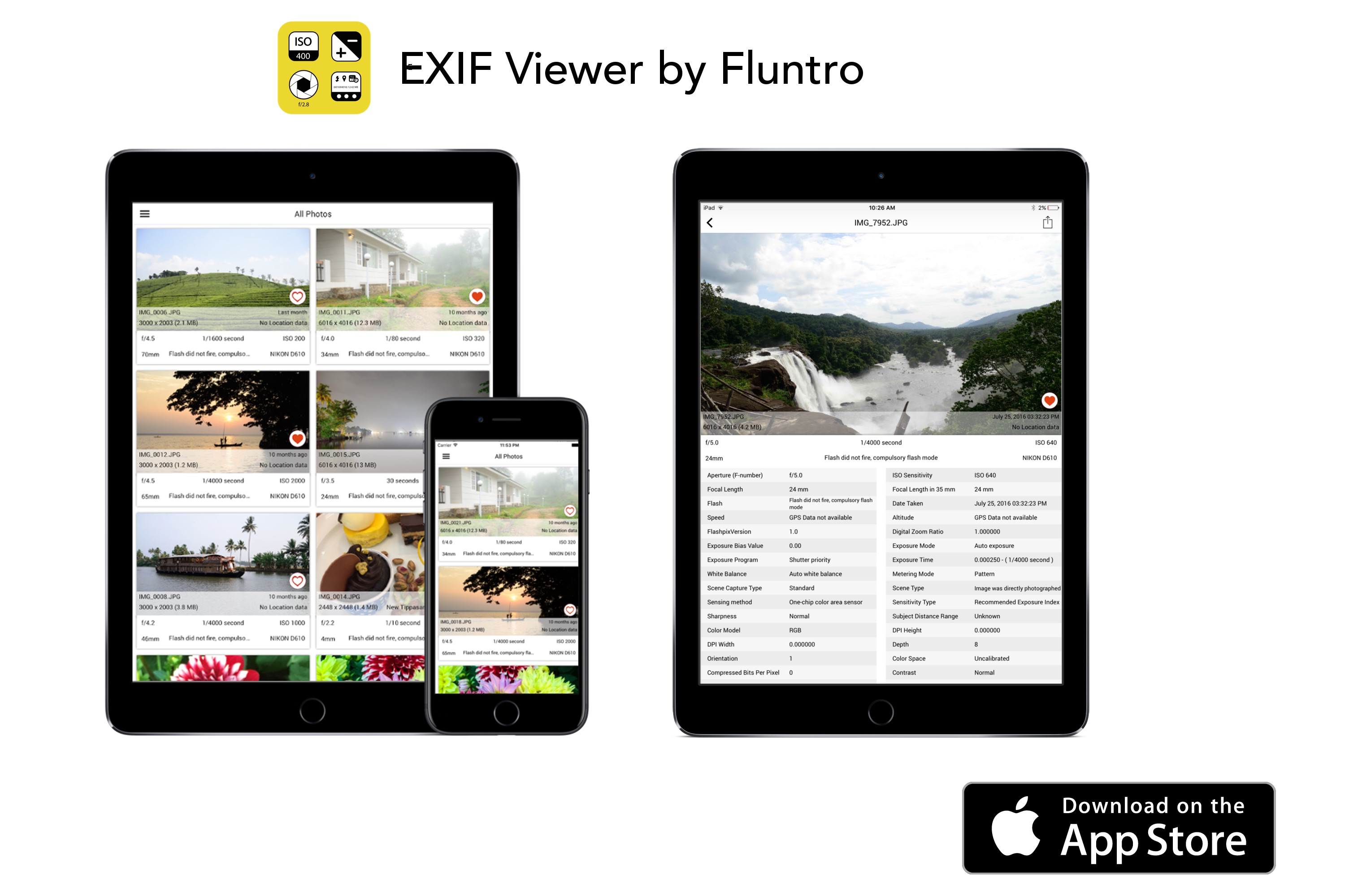 Exif Viewer by Fluntro is now ranking in top charts on iOS App Store Image